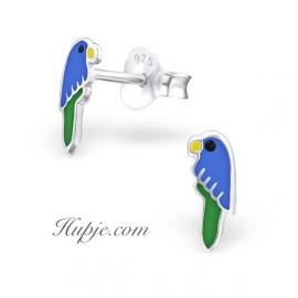 Silberne Kinderohrringe blauer Papagei