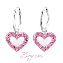 kinderoorbellen creolen hartje roze kristal