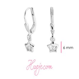 zilveren oorbellen ster met Zirkonia met brisure sluiting
