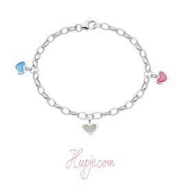 zilveren armband hartjes parelmoer roze blauw wit (14 + 2 cm)