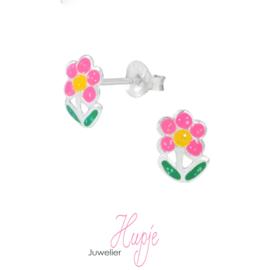 zilveren oorknopjes glitter bloem roze