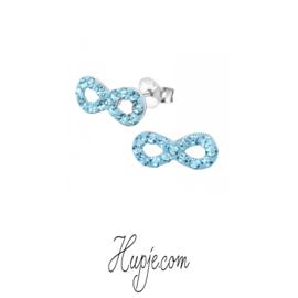 Silberne Ohrringe Infinity blaue Kristalle
