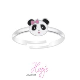 zilveren kinderring panda roze strikje