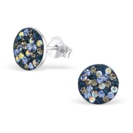 zilveren oorbellen blue crystals