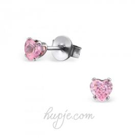 oorbellen chirurgisch staal roze kristallen hartje
