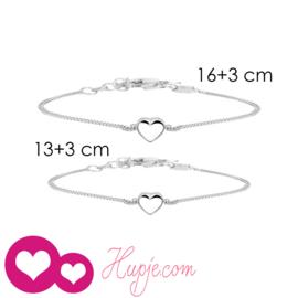 zilveren moeder-dochter armbandjes (2 stuks) TWO GIRLS, ONE HEART