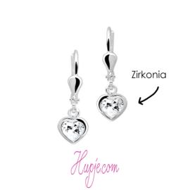 Silberne Ohrringe Herz mit Zirkonia Brisurverschluss