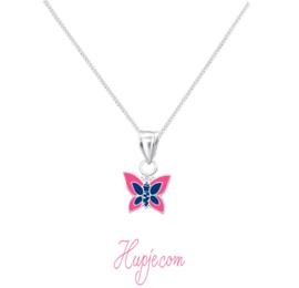 zilveren kinderketting vlinder blauw roze