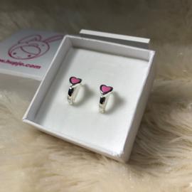 zilveren kinderoorbellen creolen roze hartje