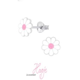 Zilveren kinderoorbellen bloemetje wit met roze glitter kern