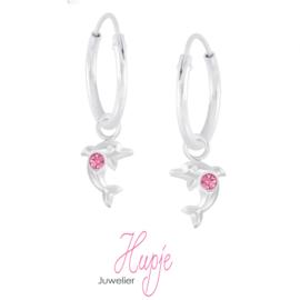 zilveren kinderoorbellen creolen dolfijn roze kristallen