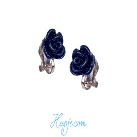 SOUZA clipoorbellen donkerblauw roosje