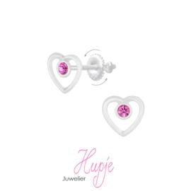 zilveren kinderoorbellen hartje open roze kristal (met schroefsluiting!)