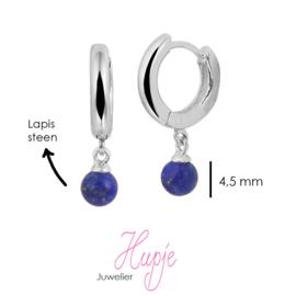 zilveren oorbellen creolen met prachtige blauw Lapis steen