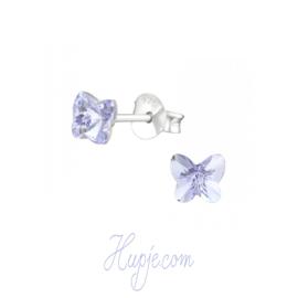 zilveren oorbellen vlinder lichtblauwe kristallen Swarovski