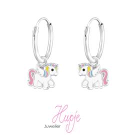 zilveren kinderoorbellen creolen eenhoorn roze met vleugels