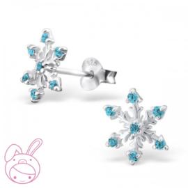 zilveren kinderoorbellen frozen blauw kristal