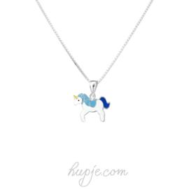 zilveren kinderketting eenhoorn blauw