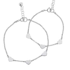 zilveren moeder-dochterarmbandje 3 hartjes