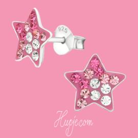 zilveren kinderoorbellen roze ster + Swarovski kristallen