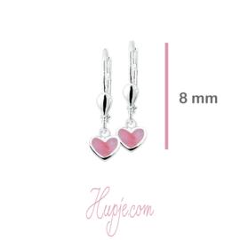 zilveren oorbellen parelmoer hartje roze brisure sluiting