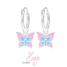 zilveren kinderoorbellen creolen vlinder roze glitter en blauw