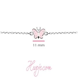 zilveren kinderarmband roze vlinder zilveren stippen