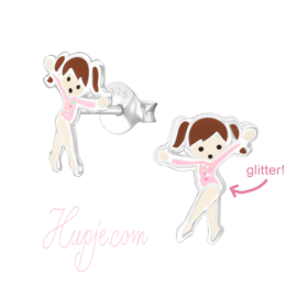 zilveren kinderoorbellen ballet turn meisje roze glitter