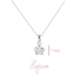 Silberne Kinderkette Blüte rosa Zirkonia