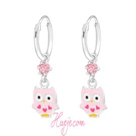 zilveren oorbellen uil 3 roze hartjes roze kristallen