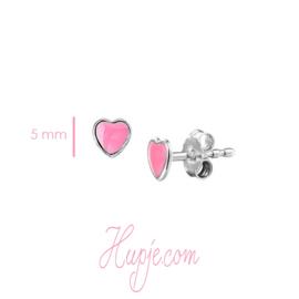 Silberne Ohrringe Herz rosa Emaille