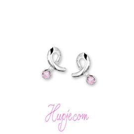 zilveren kinderoorbellen Sparkle zilver + roze zirkonia
