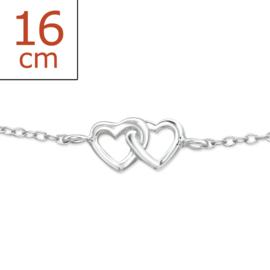 zilveren armband (16 cm) hartjes