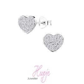 zilveren kinderoorbellen hartje kristallen