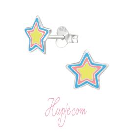 zilveren kinderoorbellen ster roze geel blauw