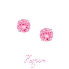 gerhodineerd zilveren oorknopjes roze Zirkonia