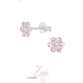 zilveren kinderoorbellen bloem pink crystals