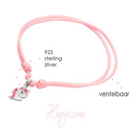 Silbernes Kinderarmband Einhorn rosa Mähne