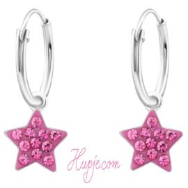 zilveren oorbellen roze ster + kristallen