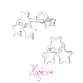 zilveren oorbellen 3 sterren