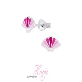 zilveren kinderoorbellen schelp roze