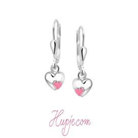 kinderoorbellen zilveren hartje met klein roze hartje en brisure sluiting