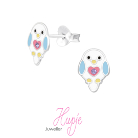 zilveren oorbellen vogel hartjes buikje