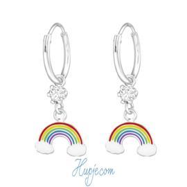 zilveren kinderoorbellen regenboog + kristal