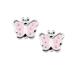 Silberne Kinderohrringe Schmetterling rosa silberne Punkte