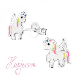 Silberne Kinderohrringe Einhorn Rainbow Dash