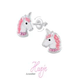 zilveren kinderoorbellen eenhoorn roze kristallen en glitter (met schroefsluiting!)
