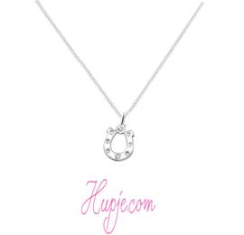 Silberne Kinderkette Hufeisen + Stern Kristall
