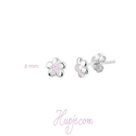 zilveren kinderoorbellenbloem roze zirkonia