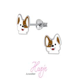 zilveren kinderoorbellen hondje Vlekje knopjes